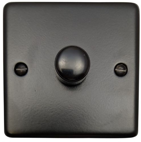 G&H CFB11 Standard Plate Matt Black 1 Gang 1 or 2 Way 40-400W Dimmer Switch